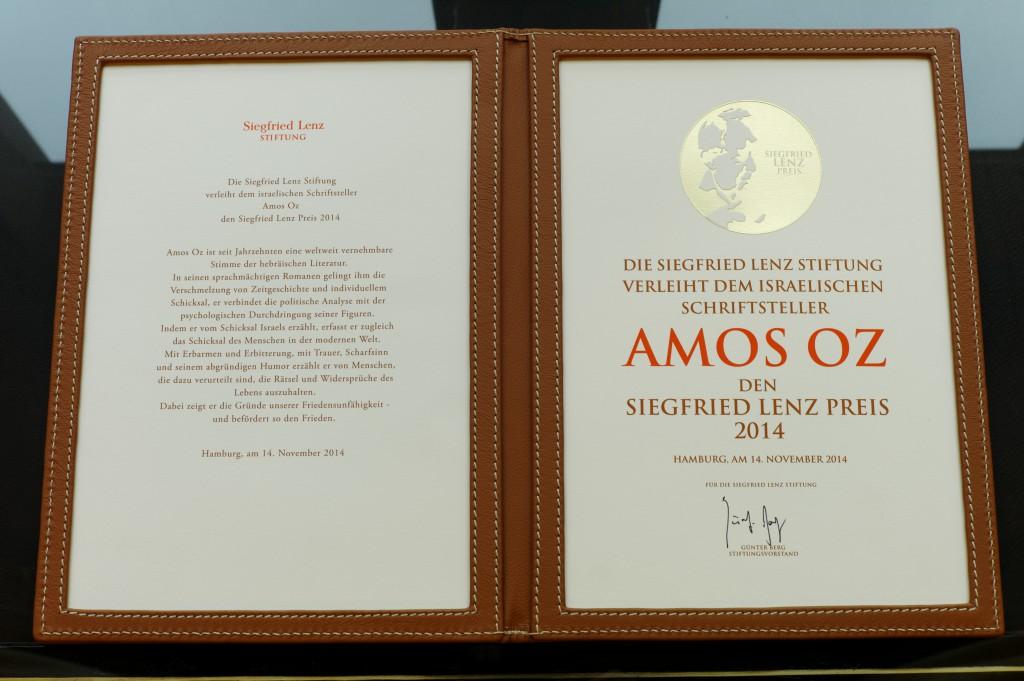 Urkunde des Siegfried Lenz Preis 2014