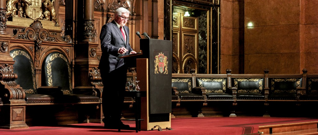 Frank-Walter Steinmeier bei seiner Rede anlässlich der Preisverleihung 2014